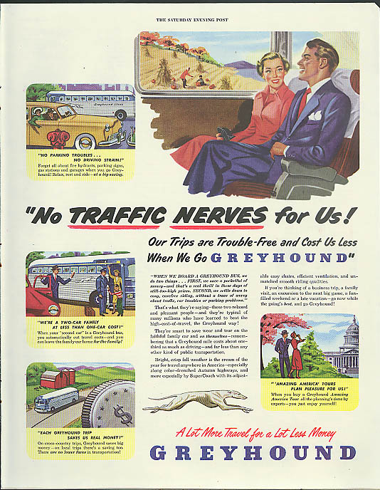 Image for No traffic nerves for us! We go Greyhound Bus ad 1949