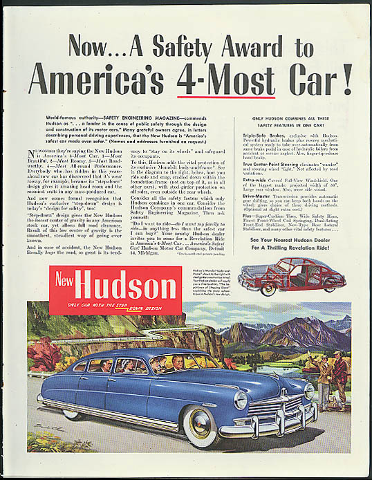 Image for Now a Safety Award to America's 4-Most Car! Hudson ad 1949