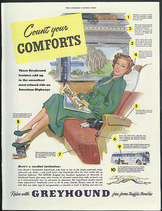Count your Comforts smoothest most relaxed ride Greyhound Bus ad 1949