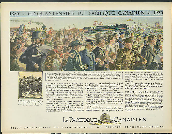 150th Anniversary Canadian Pacific Pacifique Canadian RR ad 1935 in French