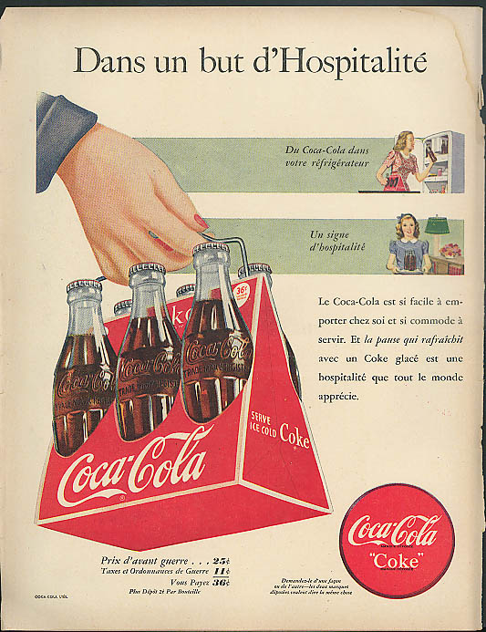 Dans un but d'Hospitalite Coca-Cola 6-pack ad 1948 in French