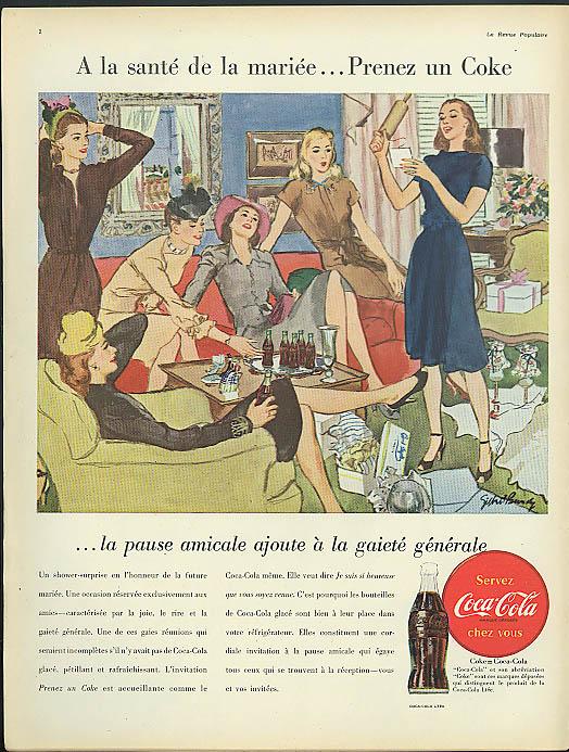 A la sante de la mariee Prenez Coca-Cola ad 1946 in French