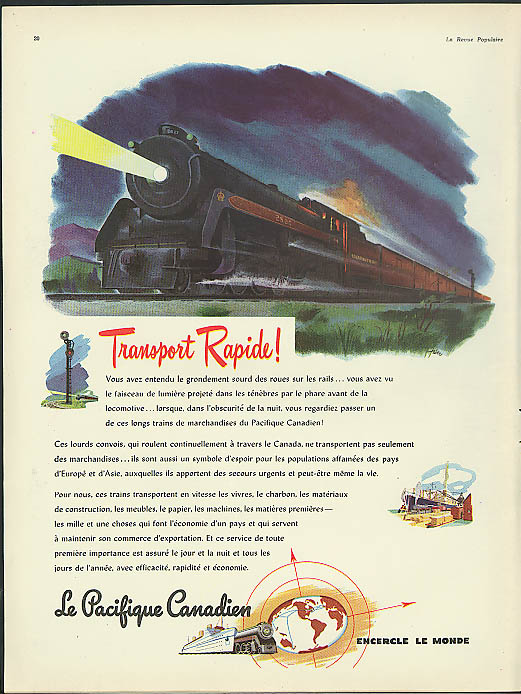 Image for Transport Rapide! Le Pacifique Canadien RR ad 1946 Canadian Pacific