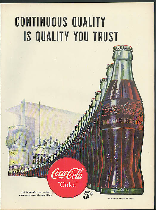 Continuous Quality Coca-Cola / Canadian Pacifid Empress ocean liners ad 1947