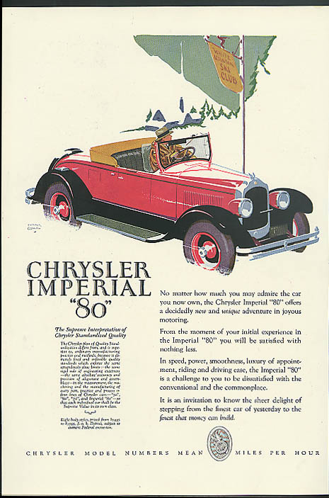 Image for No matter how much you may admire Chrysler Imperial 80 Roadster ad 1927