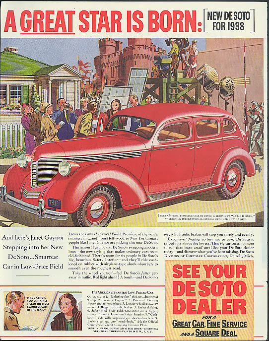 A great star is born Janet Gaynor in A Star is Born for De Soto ad 1938 P