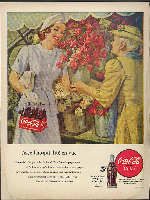 Avec l'hospitalite en vue Coca-Cola ad 1949 ladies at flower stand