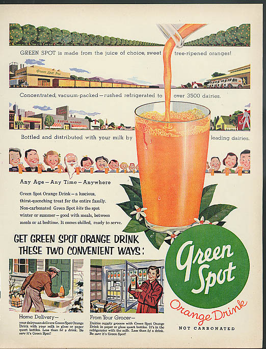 Any Age Any Time Anywhere Green Spot Orange Drink ad 1954