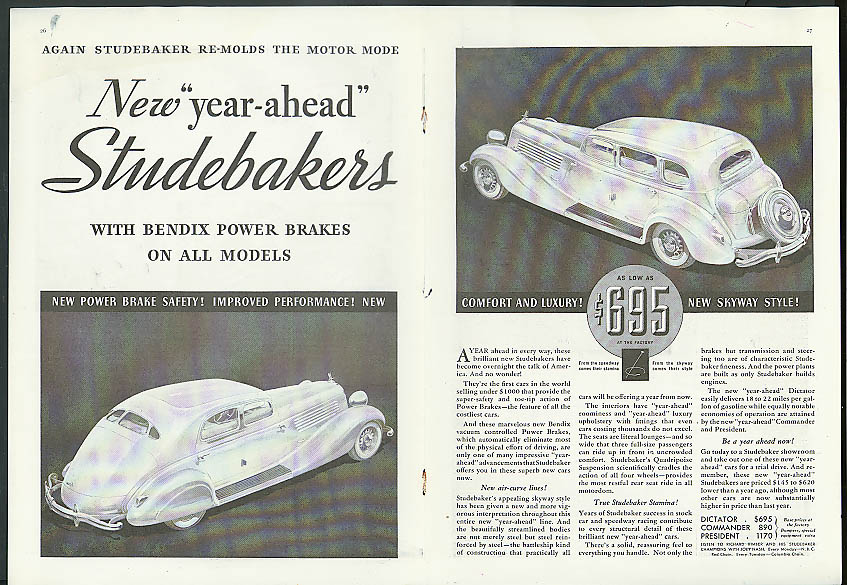 Again Re-Molds the Motor Mode - New year-ahead Studebaker ad 1934