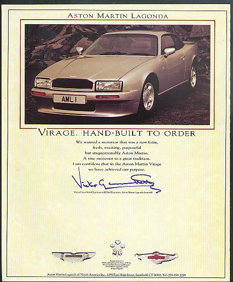 Aston Martin Lagonda Virage. Hand-Built to Order ad ca 1989