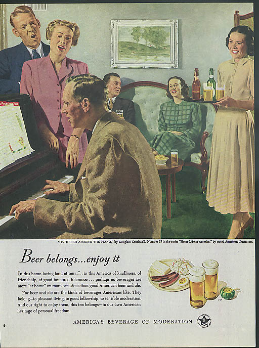 Beer belongs - enjoy it ad 1949 Douglas Crockwell Gathered Around the Piano