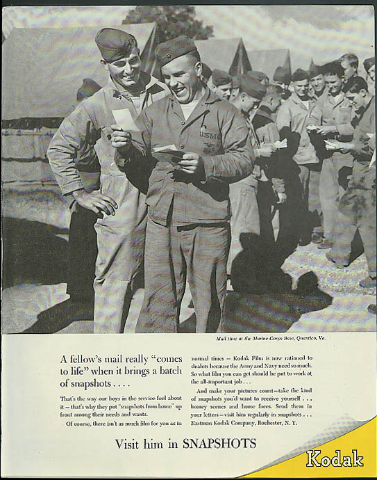 A fellow's mail comes to life Kodak Snapshots to GIs in service ad 1944