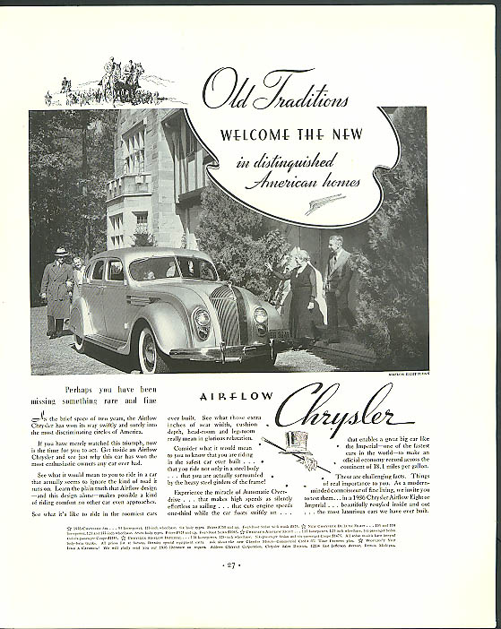 Image for Old Traditions welcome the new Airflow Chrysler ad 1936