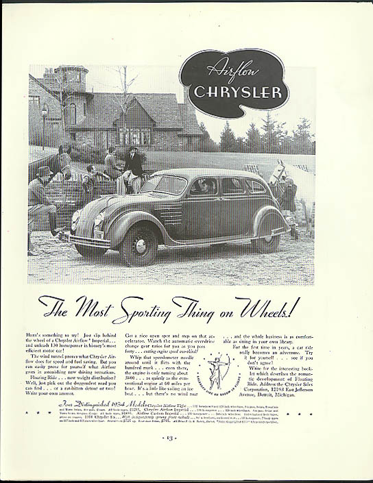 Image for The Most Sporting Thing on Wheels! Airflow Chrysler ad 1934