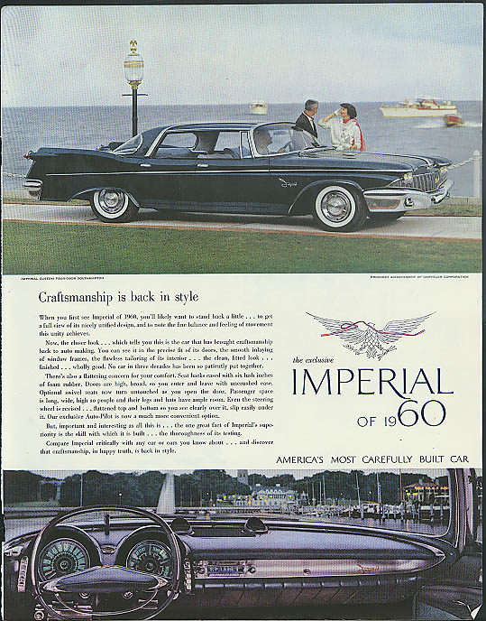 Image for Craftsmanship is back in style Imperial by Chrysler ad 1960