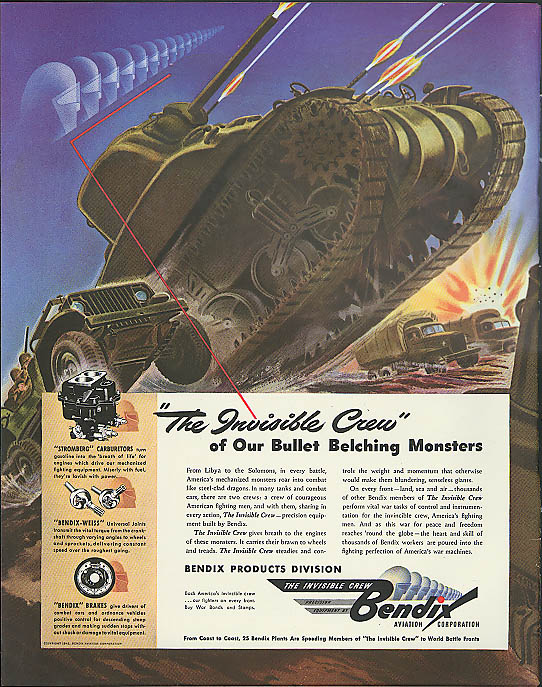 Image for Invisible Crew behind Bullet Belching Bendix ad 1942 tank Jeep 6x6 truck