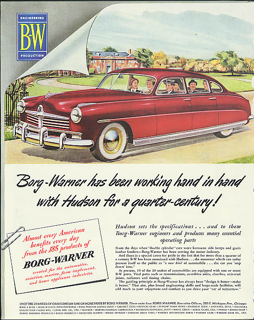 Borg-Warner has been working hand in hand with Hudson ad 1949