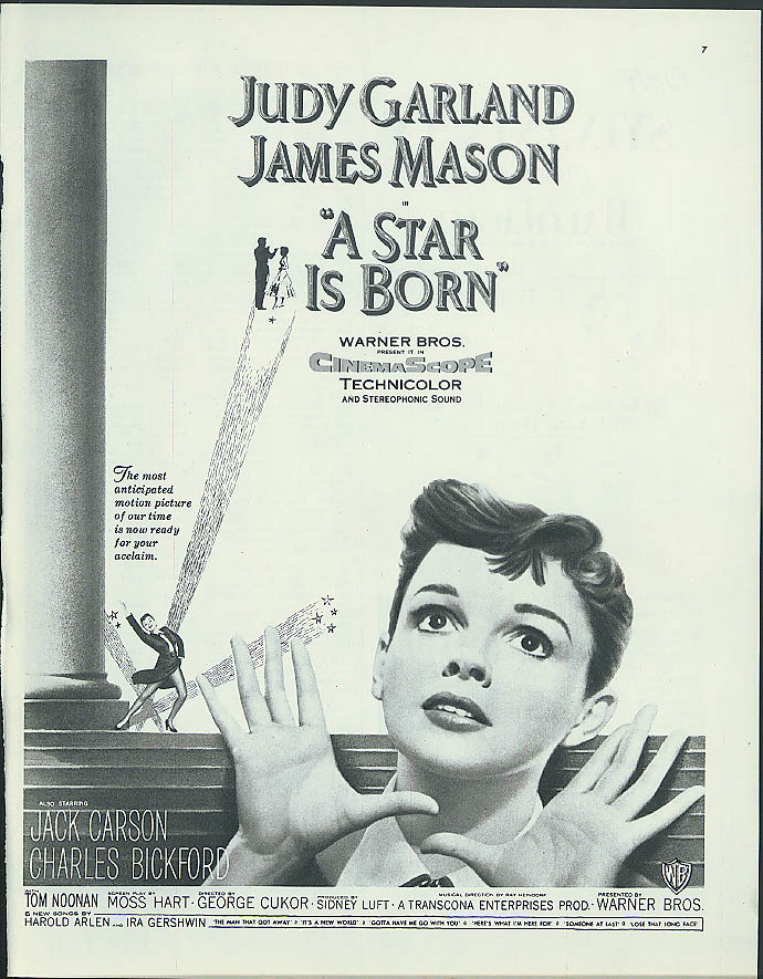 A Star is Born Judy Garland James Mason Jack Carson movie ad 1954 from Collier's