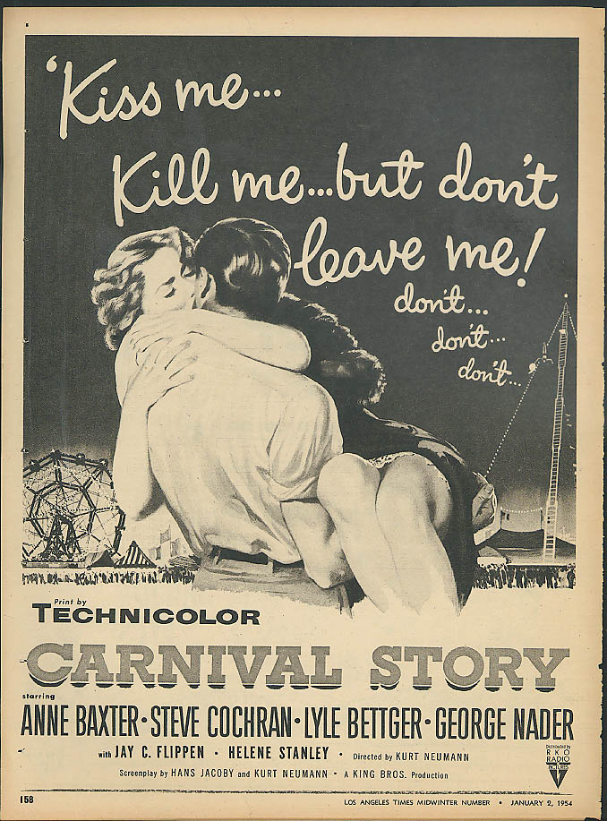 Anne Baxter in Carnival Story / The Eddie Cantor Story movie ad 1954