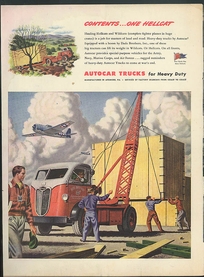 Contents: One Hellcat Fighter Dade Brothers Autocar Truck ad 1944