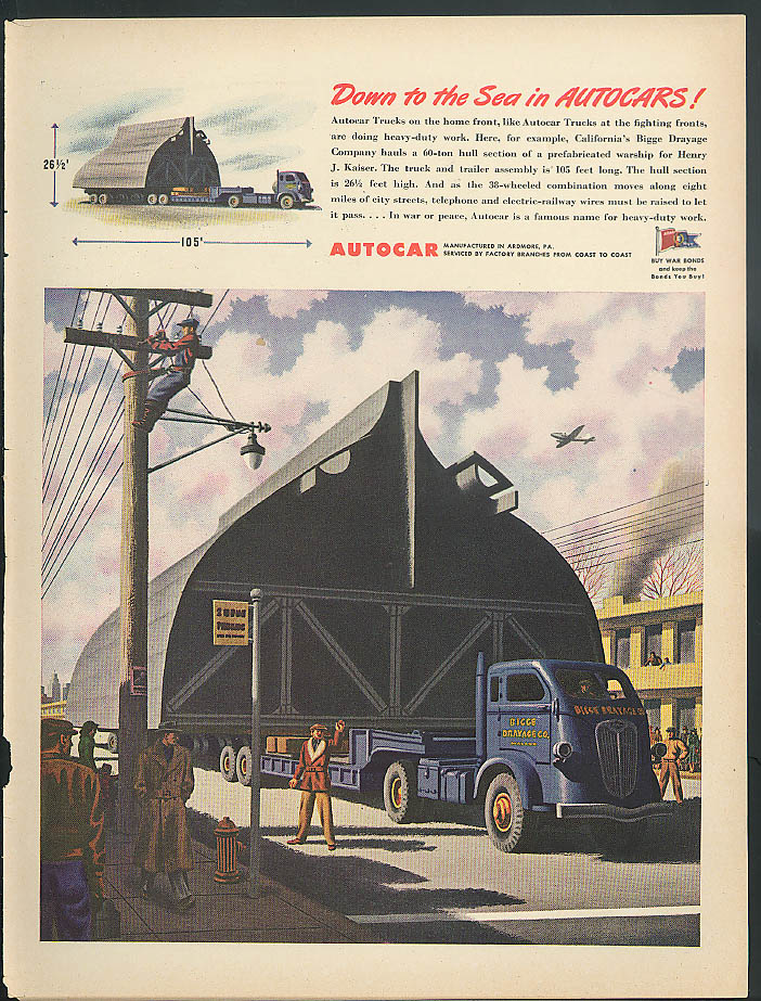 Down to the sea prefabricated warship in Autocar Bigge Drayage Truck ad 1944