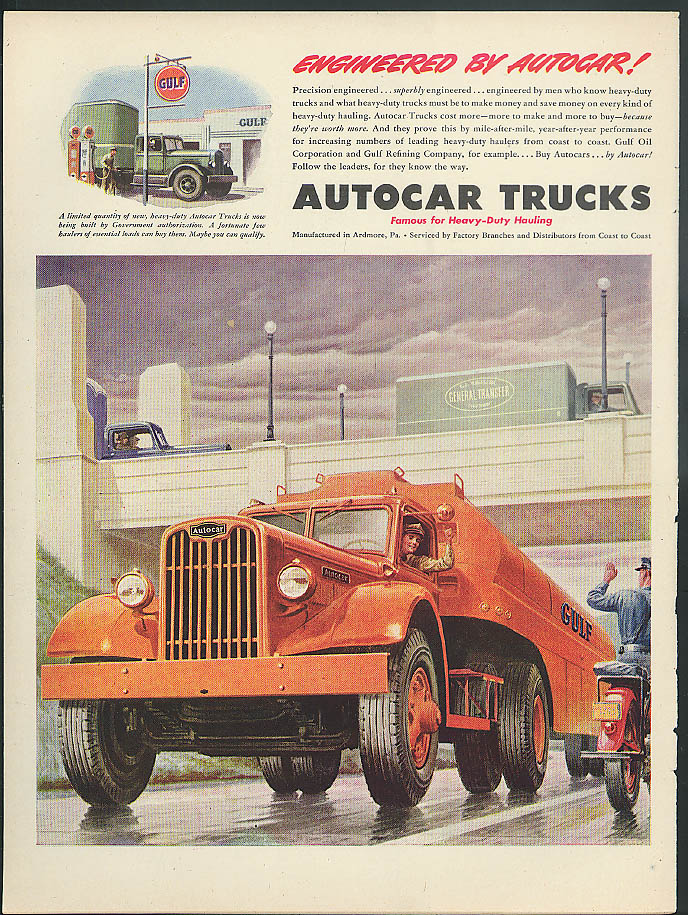 Engineered by Autocar! Gulf Semi-Trailer Tank Truck ad 1945