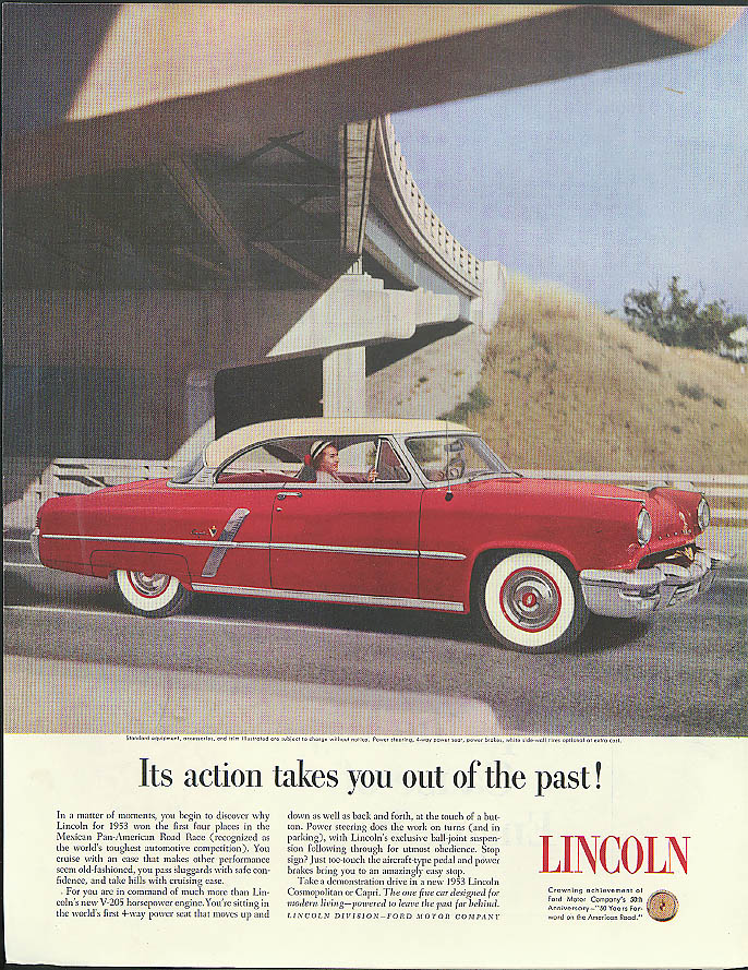 Image for Its action takes you out of the past! Lincoln Capri 2dr HT ad 1953