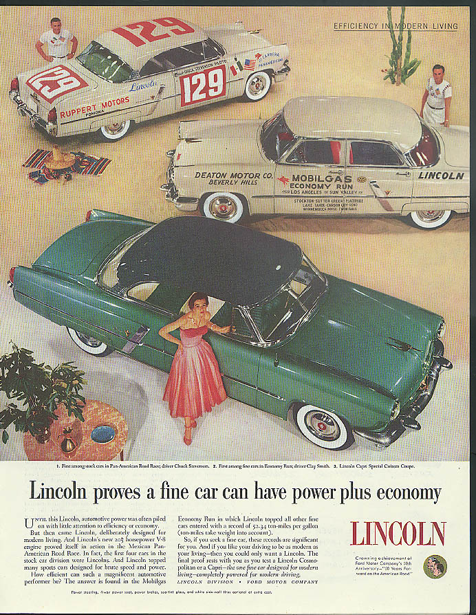 Image for Power plus economy Chuck Stevenson Clay Smith Road Race Lincoln ad 1953