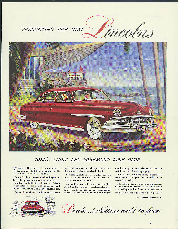 1950's first & foremost fine cars The new Lincoln ad 1950