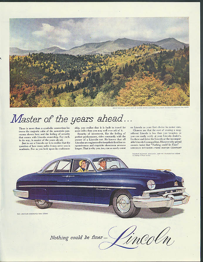 Image for Master of the years ahead Lincoln Cosmopolitan ad 1951 Mt Mitchell NC