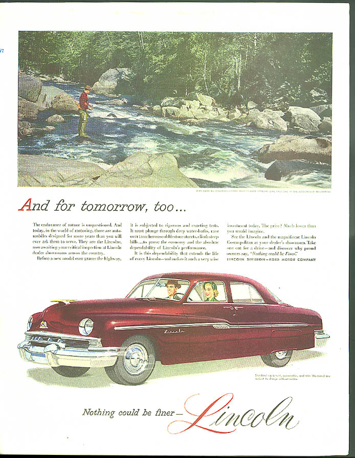 Image for And for tomorrow too Lincoln Sedan ad 1951 Adirondack trout stream