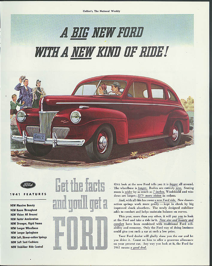 A Big new Ford with a new kind of ride ad 1941 Collier's