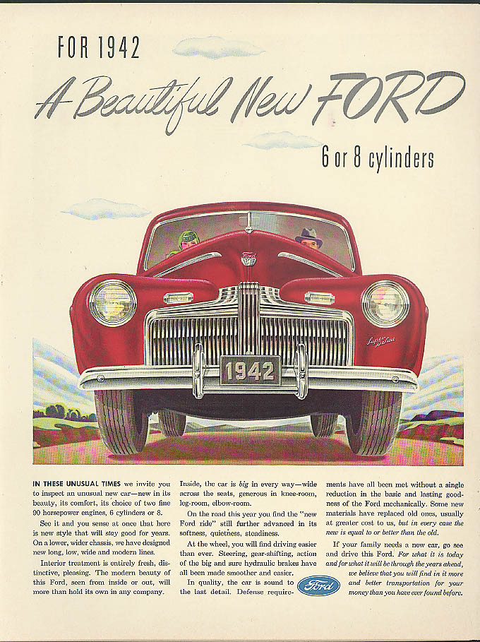 A Beautiful New Ford 6 or 8 cylinders ad 1942