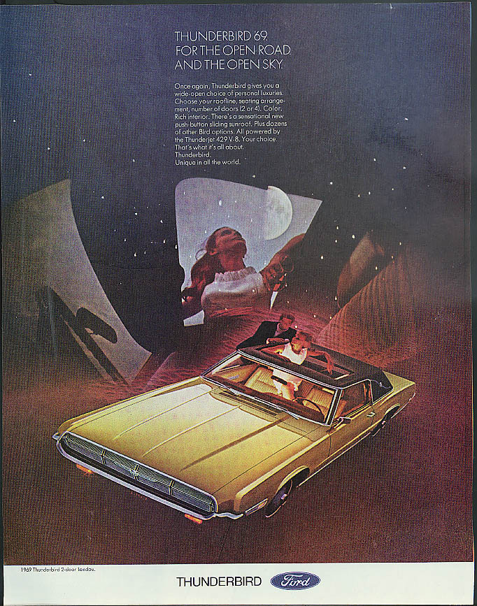 Image for For the Open Road & The Open Sky Ford Thunderbird ad 1969 Holiday