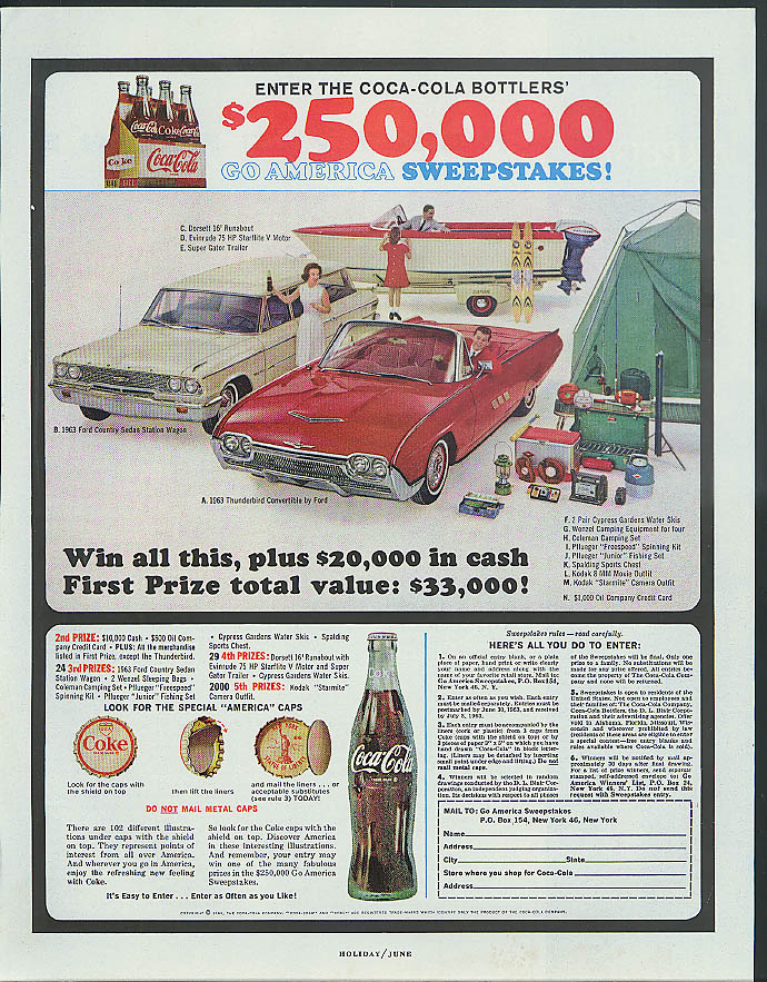 Coca-Cola Sweepstakes 1963 Ford Country Squire Thunderbird Convertible ad 1963