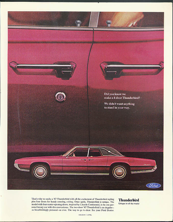 Did you know we make a 4-door Thunderbird? Ford Thunderbird ad 1967 Holiday