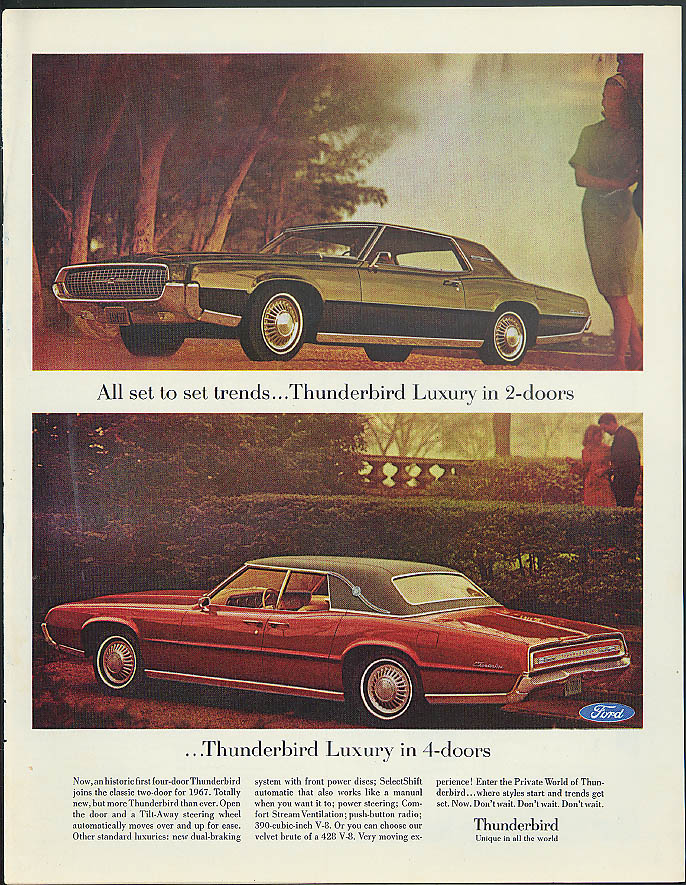 All set to set trends in 2-doors or 4-doors Ford Thunderbird ad 1967