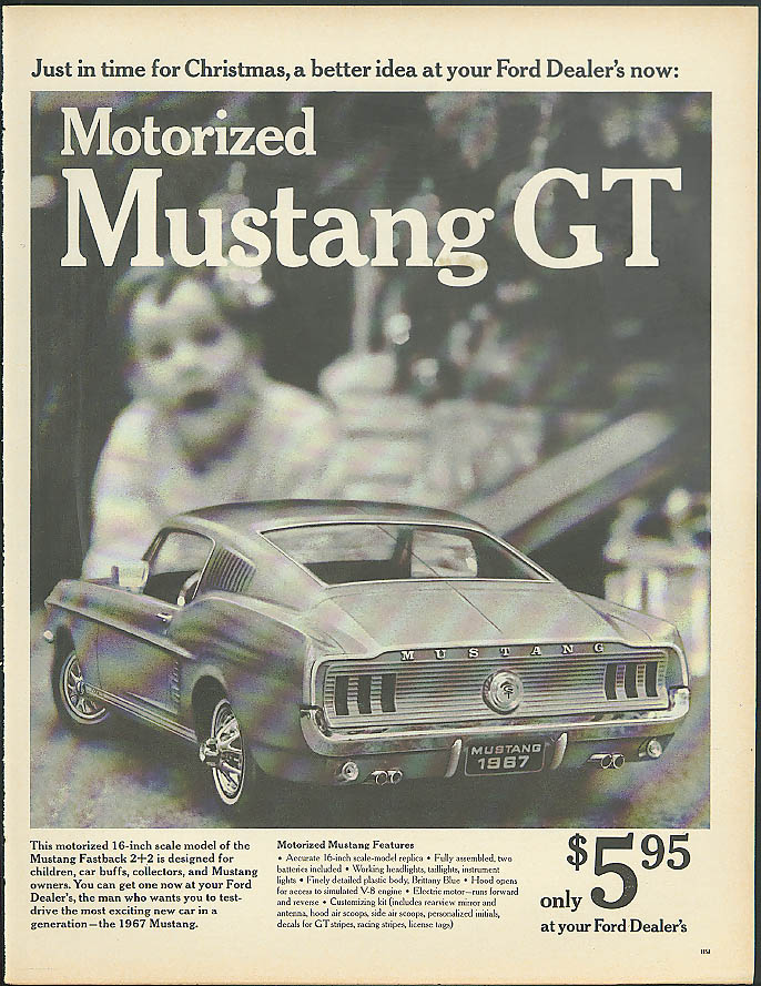 Just in time for Christmas Motorized Mustang GT only $5.95 ad 1967