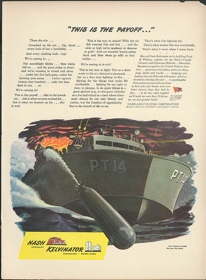 Image for This is the Payoff P-T Boat PT14 launches Nash-Kelvinator torpedo ad 1944