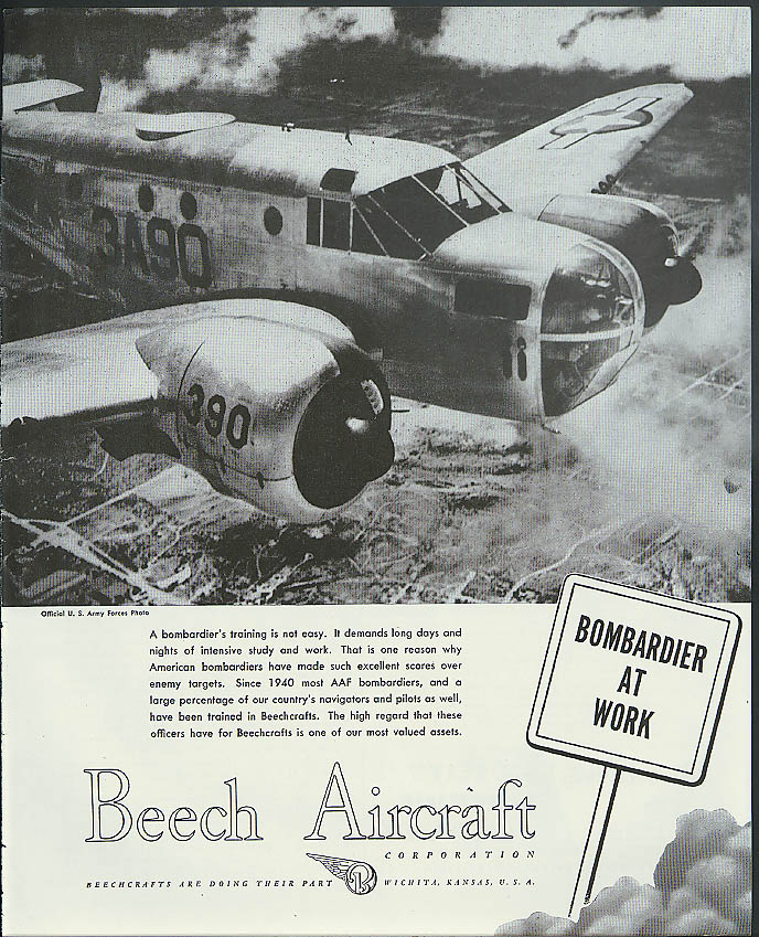 Bombardier at Work -  USAAF Beech Trainer ad 1945