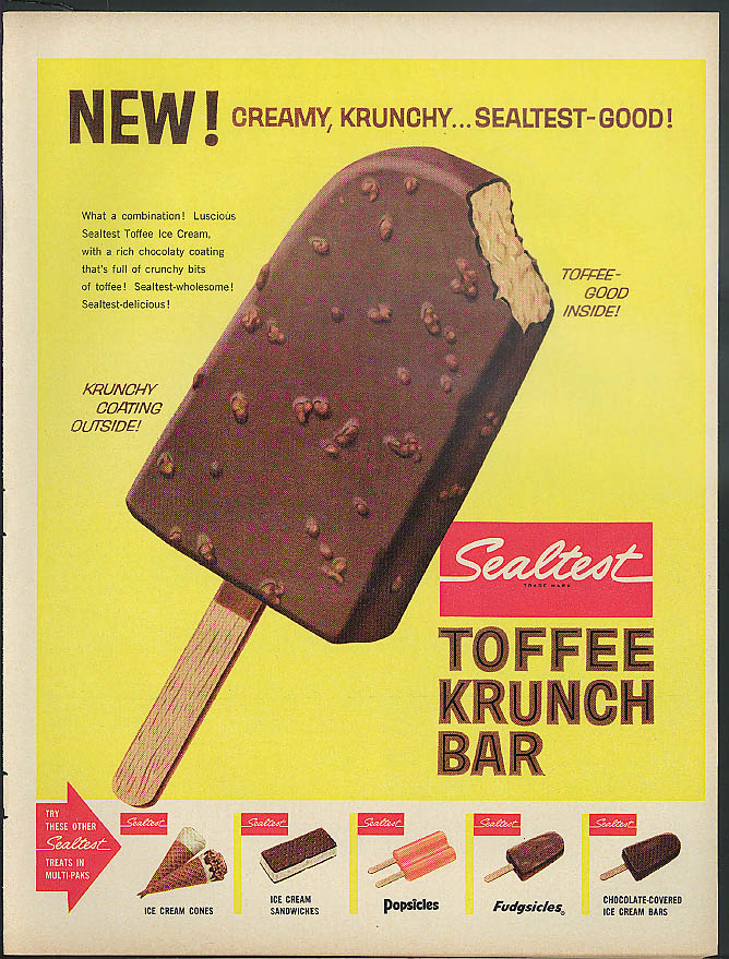 Image for New! Creamy Krunchy Sealtest Toffee Krunch Bar ad 1962