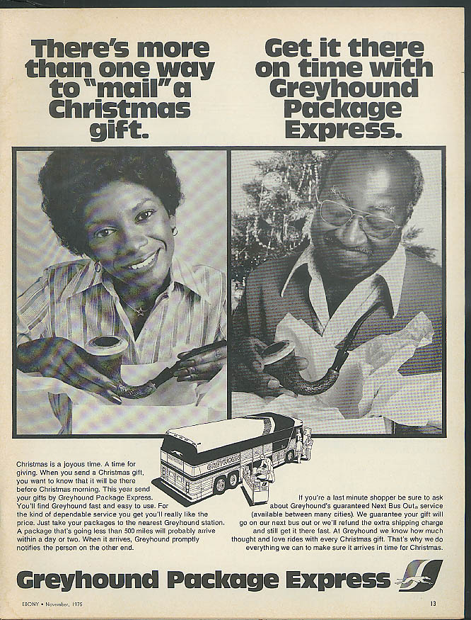 Get it there on time with Greyhound Bus Package Express ad 1975 Negro models