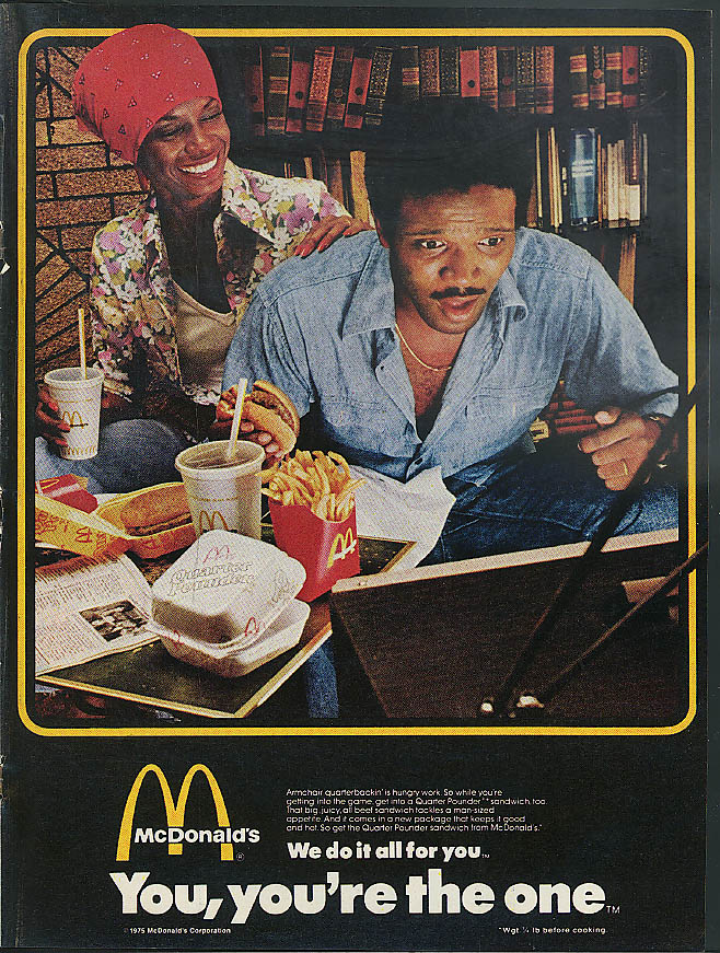 Armchair quarterbackin' is hungry work McDonald's ad 1975 Negro couple