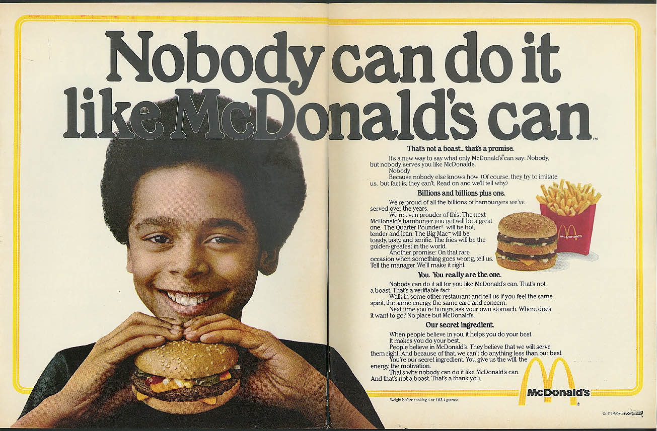 Image for Nobody can do it like McDonald's can ad 1979 Negro model