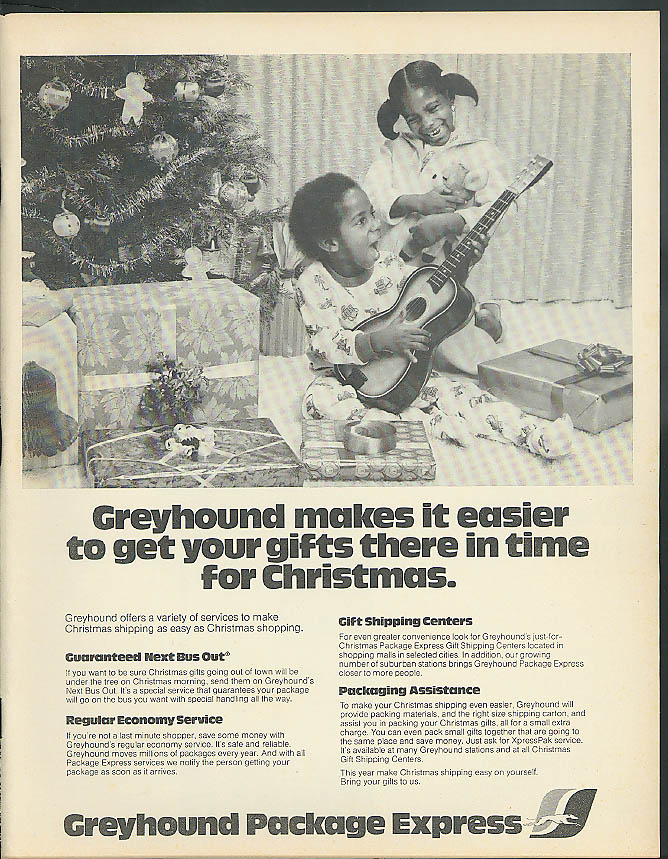 Greyhound Bus makes it easier to get gifts there on time ad 1977 Negro kids Xmas