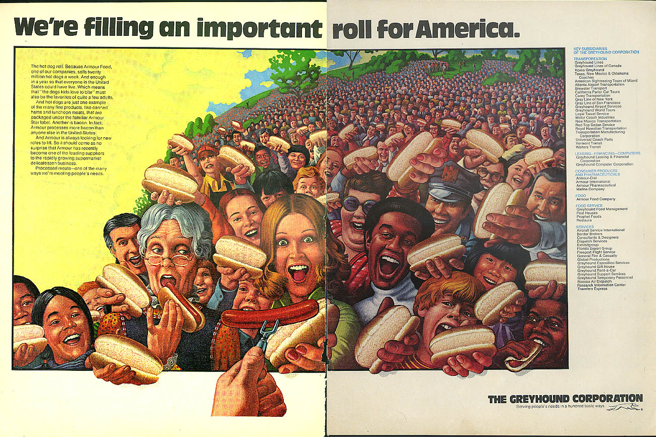 Filling an important roll for America Greyhound Armour Foods Division ad 1976