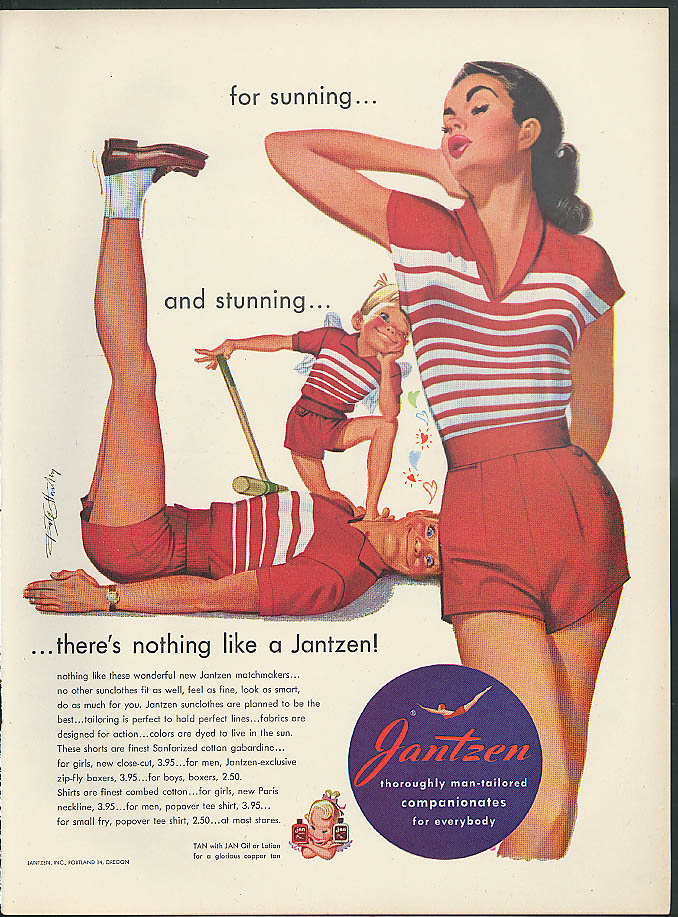 Image for For sunning & stunning Jantzen Sunclothes ad 1951 Pete Hawley pin-up