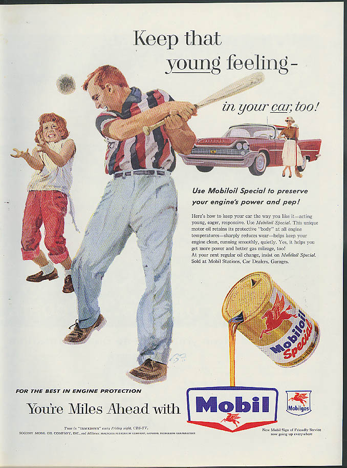 Image for Keep that YOUNG feeling in your car too Mobil Oil ad 1958 Chrysler baseball