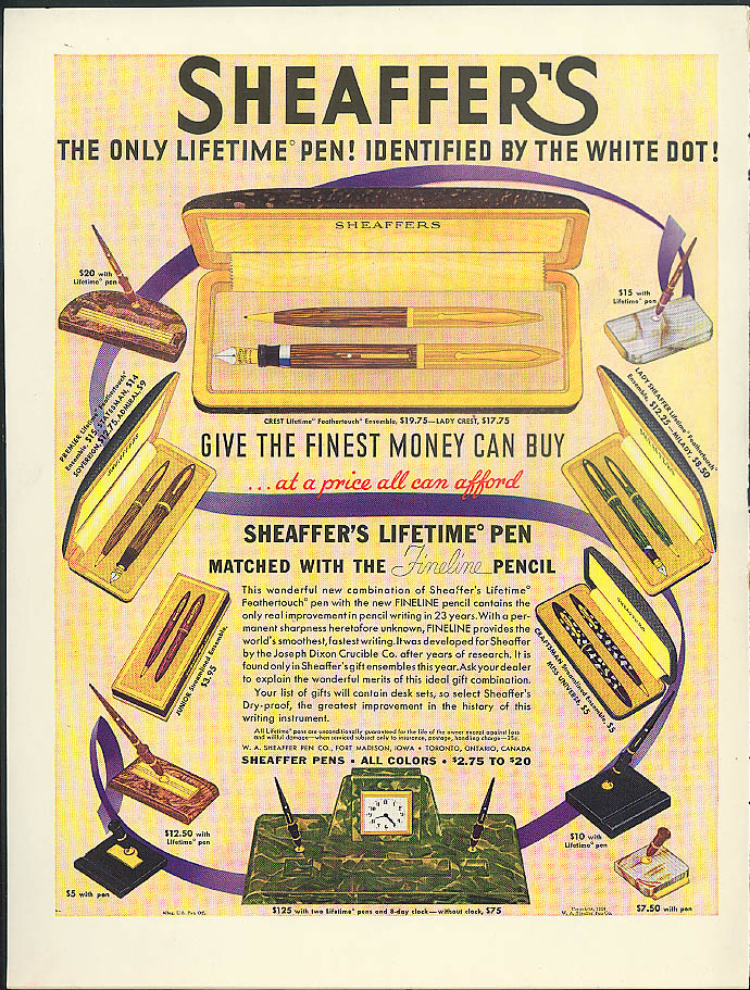 Image for Sheaffer's The Only Lifetime Fountain Pen! & Fineline Pencil ad 1938