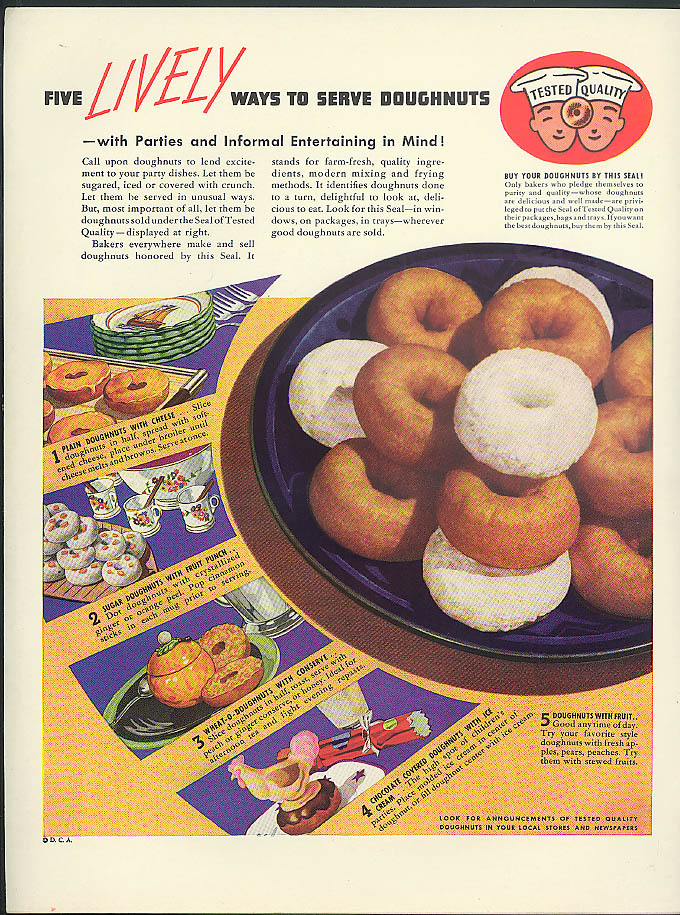 Image for Five Lively Ways to Serve Doughnuts ad 1938 cheese fruit punch chocolate